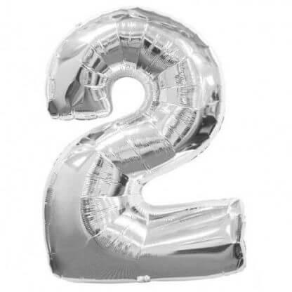 Цифра 2 с гелием, цвет серебро фольгированная