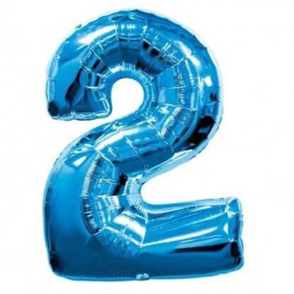 Цифра 2 синяя фольгированная