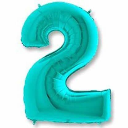 Цифра 2 на день рождения тиффани фольгированная