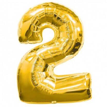 Цифра 2 золото фольгированная