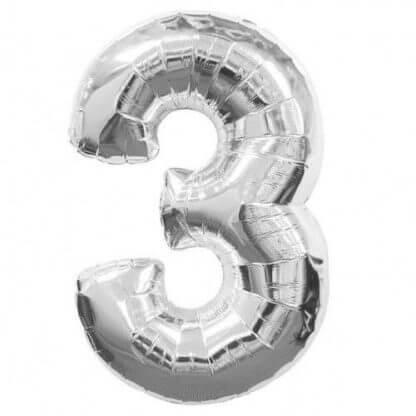 Цифра 3 серебро фольгированная