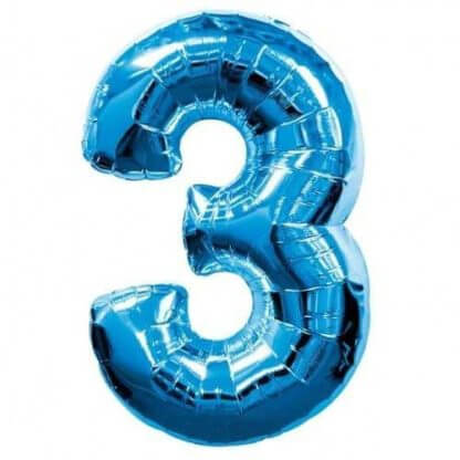Цифра 3 синяя фольгированная