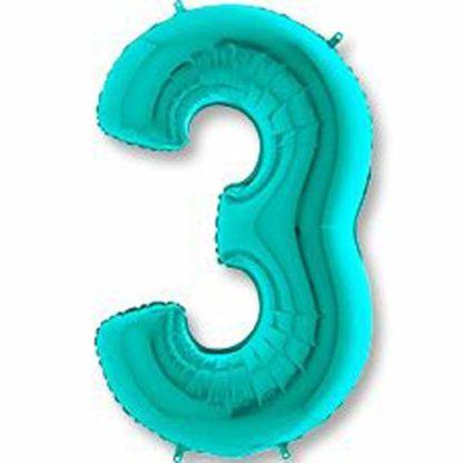 Цифра 3 на день рождения цвета тиффани гелий