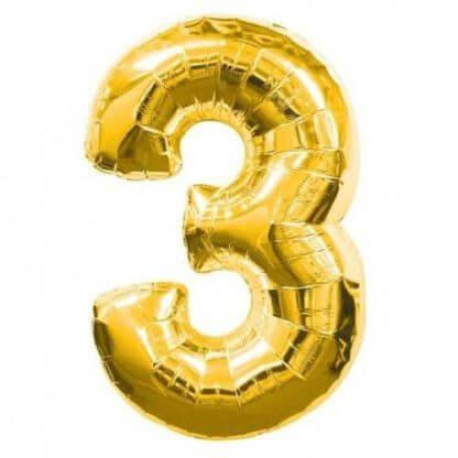 Цифра 3 золото фольгированная