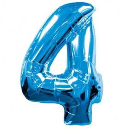 Цифра 4 синяя фольгированная