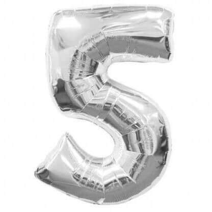 Цифра 5 серебро фольгированная