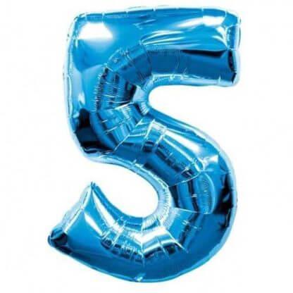 Цифра 5 синяя фольгированная
