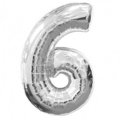 """Цифры из фольги """"6"""" серебро"""