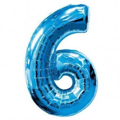 Цифра 6 синяя фольгированная