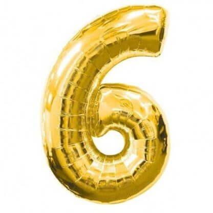 Цифра 6 золото фольгированная