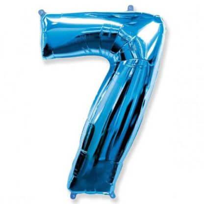 Цифра 7 синяя фольгированная