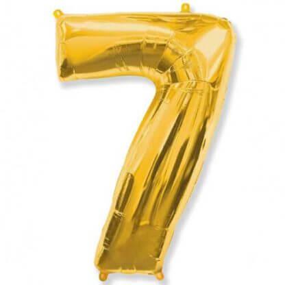 Цифра 7 золото фольгированная