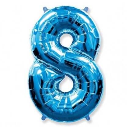Цифра 8 синяя фольгированная