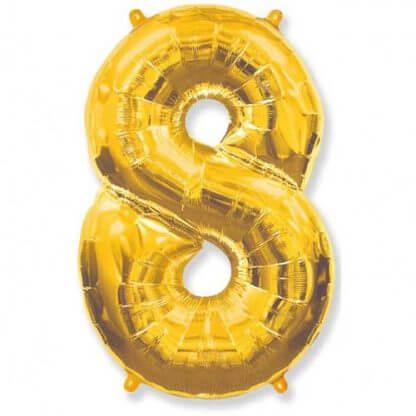 Цифра 8 золото фольгированная