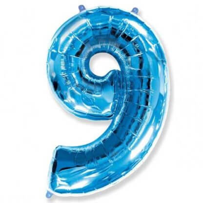 Цифра 9 синяя фольгированная