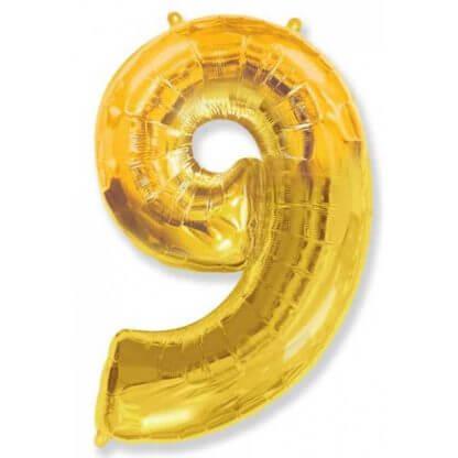 Цифра 9 золото фольгированная